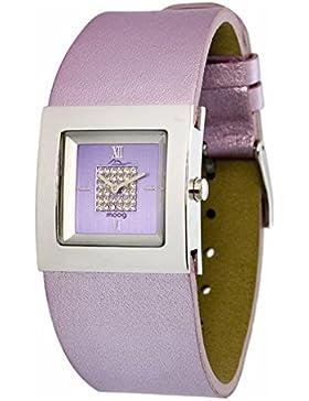 Moog Paris - Harmony Damen Uhr mit Lila Zifferblatt, Swarovski Elements & Violett Armband aus Echtem Leder - Hergestellt...
