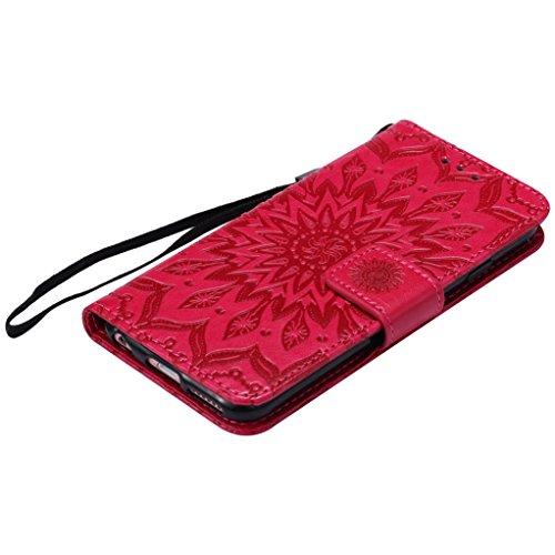 Trumpshop Smartphone Case Coque Housse Etui de Protection pour Apple iPhone 6 Plus / iPhone 6s Plus (5.5 Pouce) [Rose] 3D Mandala Mode Portefeuille PU Cuir Fonction Support Anti-Chocs Rouge