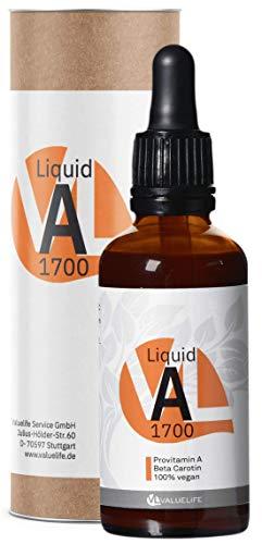 Vitamin A aus Beta Carotin - 1700 Tropfen Provitamin A aus Dunaliella Salina Alge - 5000 iE je 10 Tropfen - 50ml für 170 Tage von VALUELIFE