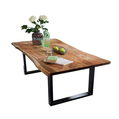SAM Baumkantentisch 200x100 cm Quarto, nussbaumfarbig, Esszimmertisch aus Akazie, Holz-Tisch mit Schwarz lackierten Beinen