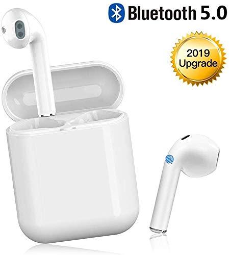 Cuffie Bluetooth,Auricolari Bluetooth 5.0 24h Playtime 3D stereo HD Cuffie wireless con Microfono, Binaurale Call auto Pairing,Sportivo Senza Fili con scatola di ricarica per tutti gli smartphone
