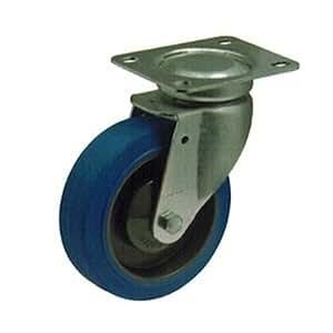 Roulette pivotante Ø 125 caoutchouc bleu élastique roulements à billes - 8130849