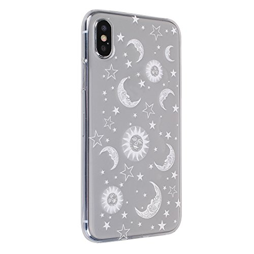 Souple Étui pour Apple iPhone X Silicone TPU, Moon mood® Portable Flexible Coque de Protection pour Apple iPhone X Soft Back Case Cover Bumper Shell Coquille Couverture TPU Doux Gel Coque Housse de Pr 2PCS 1