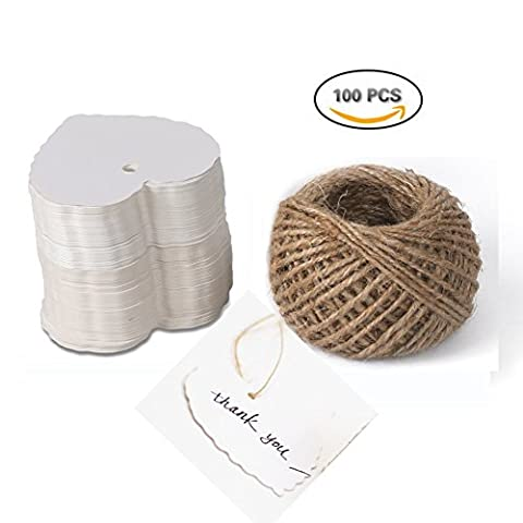 Dproptel Heart Shaped Kraft Paper Cards Gift Favor Tags Price Tags for Wedding Christmas Party Supplies with 20m Jute Twine
