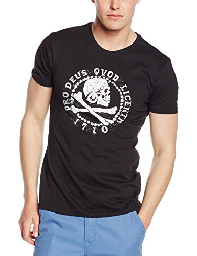 Meroncourt Herren T-Shirt Pro Deus Qvod Licentia 1710 Schwarz (Black)