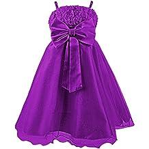 Princesas Disney - Vestido de verano de fiestas y gala con falda de tul, con cinturón de parlas y lazo para niña, color púrpura, 1-2 años  (Katara 1716)