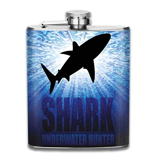 Flaxen Silhouette (Underwater Hunter Phrase Fish Silhouette 7 Oz Pocket Hip Alcohol Liquor Flask Print Printing-Made from 304(18/8) Food Grade Stainless Steel)