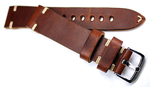 RIOS 1931 20mm Herren Leder Deutsch Uhrenarmband Vintage Retro Look braun