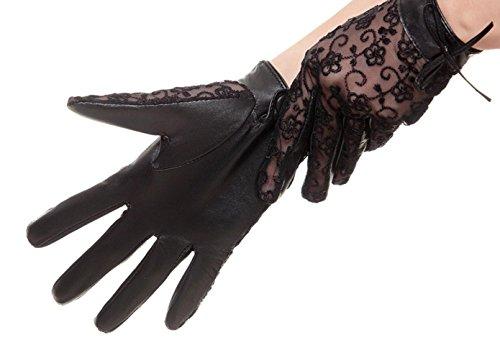 GQQgloves Femmes en dentelle en peau de mouton Gants en cuir Sunscreen UV papillon Anti - Slip Noir Purple Rice Blanc Black