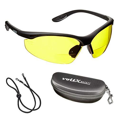 voltX 'Constructor' BIFOKALE Schutzbrille mit Lesehilfe (GELB +2.0 Dioptrie) CE EN166F Zertifiziert/Sportbrille für Radler enthält Sicherheitsband + Sicherheitsetui mit steifem Clamshell Verschluss