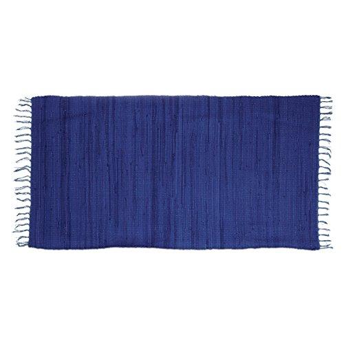 Relaxdays Flickenteppich blau 70 x 140 cm mit Fransen 100 % Baumwolle, einfarbig, Fleckerlteppich, dunkelblau