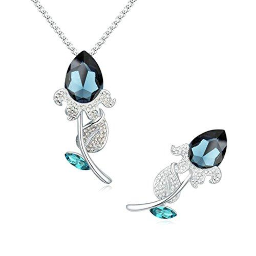 Aooaz Femmes Alliage Bijoux Parures Fleur Rose Cristal Broche Pendentif Collier Partie Engagement Noir Bleu