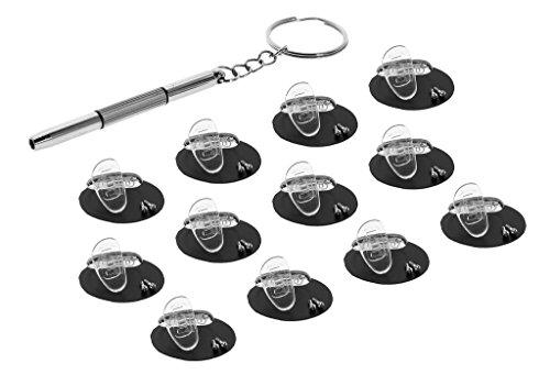 Eyekepper 12 Paar 15mm D-förmige Schraubbare weiche Silikongläser Nasenpads/Bonus 1pc Mini 3 in 1 Edelstahl-Schraubendreher