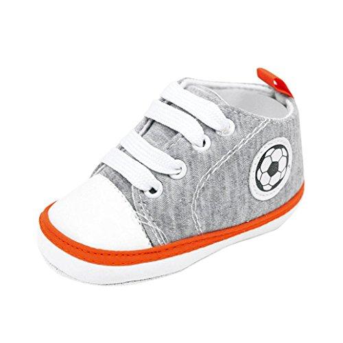 KanLin Newborn Infant Baby Football Print Sneaker Anti-slip Toddler Canvas Shoes (6-9 month, Gray)