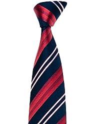 MAILANDO Herren Krawatte mit Streifen, schwarz – rot – weiss, sehr elegant