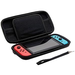 PREMYO Nintendo Switch Tasche Schwarz. Nintendo Switch Schutzhülle mit Reisverschluss, Handschlaufe und vielen praktischen Fächern für das gesamte Nintendo Switch Zubehör