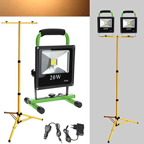 Wolketon 2*LED Fluter 20W Warmweiß Akku Strahler Mit Teleskop-Stativ Arbeitsscheinwerfer Werkstattlampen Handlampe