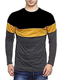 Veirdo Plain/Solid Black Full Sleeve Round Neck Men's Cotton Tshirt