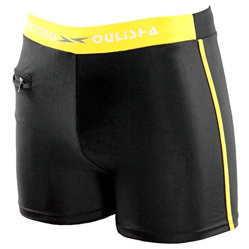 Yonglan Herren Schwimmen Boxershorts Jammers Schwimmhose Badehosen Boardshorts Surfen Kurze Hose Mit Reißverschluss Tasche Schwarz Gelb XXXL