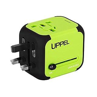 UPPEL Reiseadapter, Universal Stromadapter Steckdosenadapter, Reisestecker mit Doppel USB-Ports für Europa UK AUS USA CN Universal fusionierten Sicherheit AC-in Einem Ladegerät (Grün)