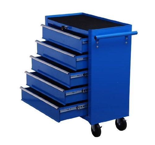 Homcom® Fahrbarer Werkstattwagen Werkzeugwagen Rollwagen Werkzeugkasten mit 5 Schubladen blau - 2