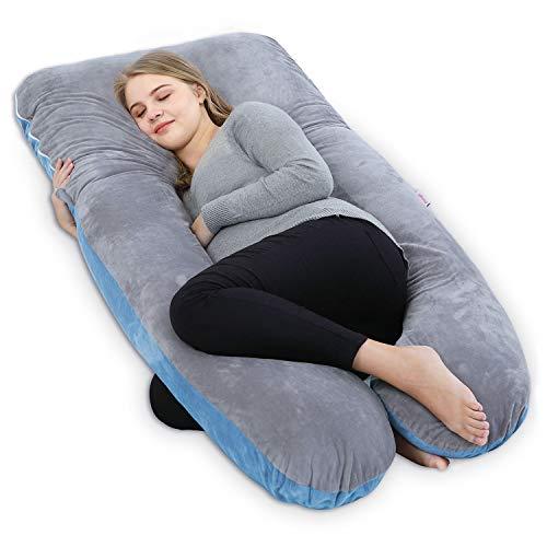 Mutterschaft Schlaf Kissen (Ang Qi total body / mutterschaft schwangerschaft kissen u-form mit doppel-reißverschluss baumwolle pillowhuelle u-kissen-größe 55 zoll grau blau)