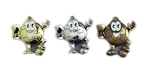 10 Stück Fußball-Medaillen für Kinder mit Deutschland-Bändern + 3 Fußball-Anstecknadel. (Gold)