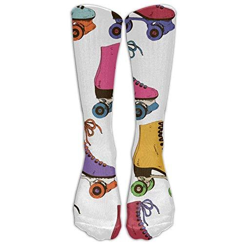 Roller High Kostüm - Gped Kniestrümpfe,Socken,Retro Colorful Roller Skates Printed Unisex Nursing Travel Sport High Socks Long Dress Crew Socks