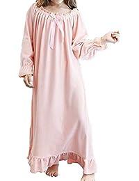 Gagacity Camisones Pijama Niñas y Mujeres Camison Manga Larga de Madre-Hija Largo Vestidos de Dormir…