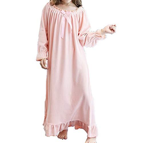 Gagacity Nachthemden Damen und Mädchen Langarm Eltern-Kind Lang Nightdress Flanell Sleepwear -
