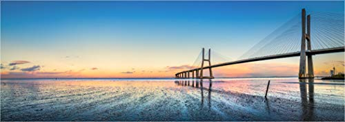 Bis 3 Meter Breite! XXLPanorama LED Glas Leuchtbild, Portugal Lissabon Vasco da Gamma Brücke, Wanddeko Wandbild Rahmenlos dimmbar vollflächig homogen LED hinterleuchtet