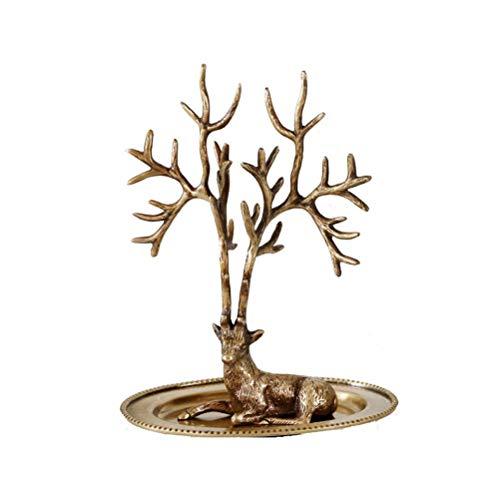 GWM Antikes Metall Schmuck Baum Display Stand/Ohrring Halskette Halter Veranstalter Rack/Home Decor - rustikale Kupfer Finish, H19 cm -