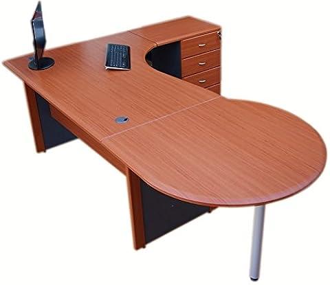 Office corner desk Right hand with 4 drawer pedestal & Round Computer desk top - (Cherry / dark