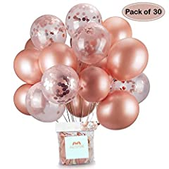 Idea Regalo - Oro rosa coriandoli palloncini party balloon 30,5 cm per matrimonio, compleanno, baby shower, laurea, cerimonia party decorazioni(30 pezzi)