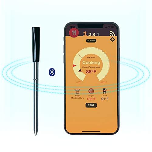 UINK Smart Wireless Barbacoa Termómetro, Bluetooth Cocina Horno Termómetro, Barbacoa Carne De Alimento...