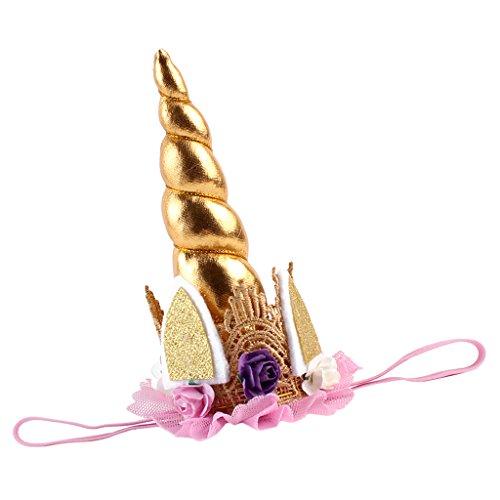 tüm Haarreif mit Blumen Horn, Karneval & Fasching & Halloween & Geburtstag - Gold, wie beschreiben (Diy Horn Kostüm)