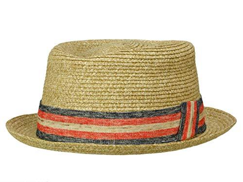 Rassow Walker Bay Snap Brim Player Hut aus Stroh - Natur-Rot (Navy/Rosso) - 58-59 cm (L) Snap Brim Hut