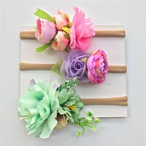 Fang-denghui, 3 STÜCKE Sommer Grün Lila Rosa Blatt Blume Stirnband Für Frauen Und Mädchen Kranz Floral Garland Crown Haarschmuck Headwear Stirnbänder Für Mädchen (Color : B)