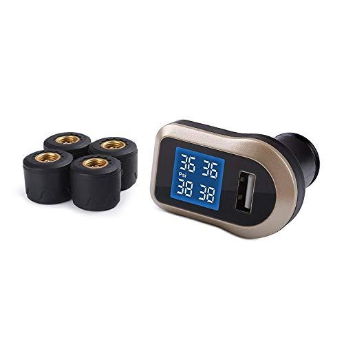 AUKEY Reifendruckkontrollsystem kfz TPMS mit Display, 4 Sensoren, Integrierter Alarm und extra 2A USB Ausgang zum Laden