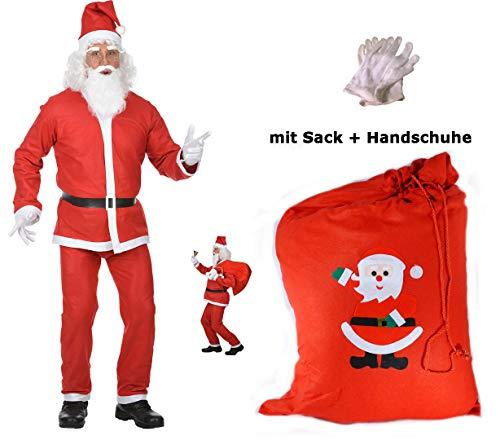 (Scherzwelt Santa Claus Kostüm - Weihnachtsmann Kostüm M/L - mit Handschuhen + Sack Weihnachten)