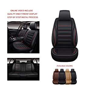 RED Trim, Full Set OASIS AUTO OS-005 Leather Universal Car Seat Covers Automotive Vehicle Cushion That Fits All Sedan Most SUV and Small Pick-Up Truck