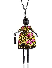 971a12de804a HAOJIUBUJIAN Collier Vintage pour Les Femmes Robe De Broderie Grand  Pendentif Et Collier Poupée Noire Collier