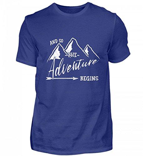 Shirtee Hochwertiges Herren Premiumshirt - Das Abenteuer Beginnt - Für Alle Bergwanderer, Wandersleute, Abenteurer und Reisende (Alpine Pfeil)