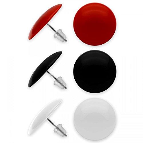 SoulCats® 3er Set runde Ohrstecker in schwarz, rot und weiß, aus Acryl mit Edelstahlstift, Ø ca. 20 mm (Schmuck Weiß Schwarz)