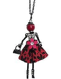 b3bac3c3d1fd Collier sautoir pendentif élégante poupée robe rouge et noir avec fleur.