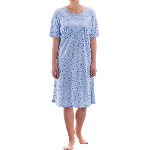 Zeitlos Nachthemd kurzarm mit floralem Druck (XXL, blau)