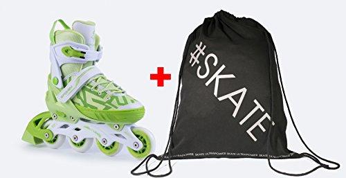 Spokey Set TURIS Größenverstellbare Inline Skates + ULTRAPOWER Beutelrucksack | Kinder | Damen | Herren | Inliner | Inline Blades | ABEC5 Carbon, Größe/Size:33-36, Farben:Grün - Weiß