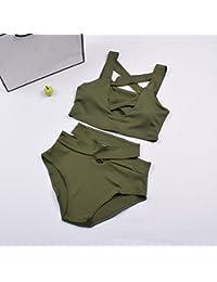 HAN-NMC con cintura alta Bikinis bañadores,M,verde militar
