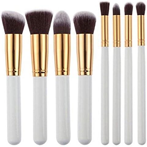 Fortan 8 pezzi nero sintetico Kabuki piatto spazzola del fondamento trucco singolo spazzola cosmetica bianca