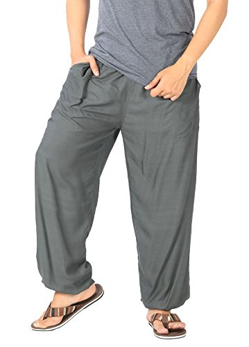 Damen Herren Kunstseide Fitness Jogginghose Tai Chi Yoga Hose Grau